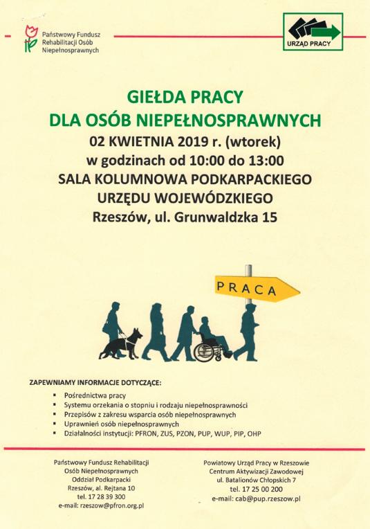 Giełda pracy dla osób niepełnosprawnych w Rzeszowie